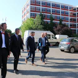 Visite de Mr Andrej Babiš sur le site de Bataville, entouré de la délégation franco-tchèque